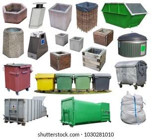Outdoors baskets, bins, containers and garbage bag  different shapes and designs. Isolated on white big urban set collage