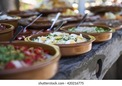 Outdoors catering buffet