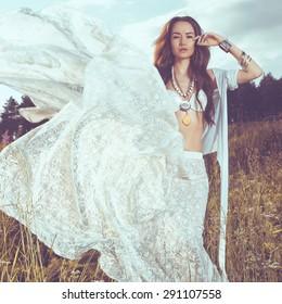 Outdoors fashion  photo of beautiful bohemian lady