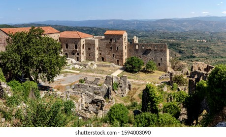 Outdoors museum. The medieval, Byzantine city Mystras (fragments) near town Sparta on an autumn sunny day (Greece, Peloponnese)
