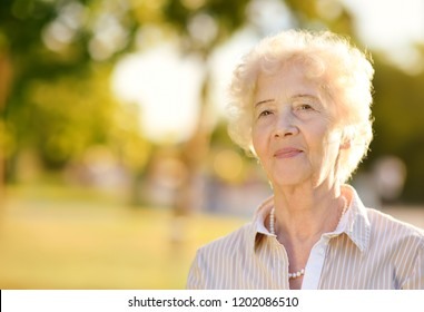 Outdoors portrait of beautiful smiling senior woman with curly white hair. Elderly lady walking in autumn park. Active longevity concepts