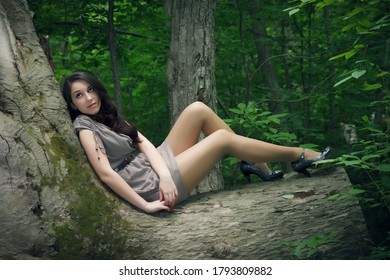 Outdoors portrait of beautiful young woman in the forest.