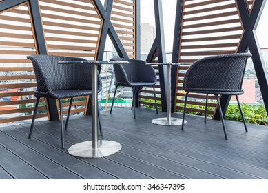 Outdoors seating arrangement in relaxation zone at modern building