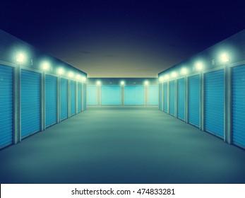 Outdoors storage units at night , Self storage facility, 3d illustration