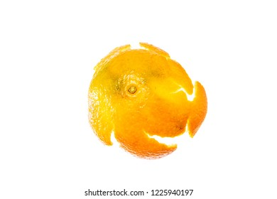 The outer side of the empty open skin of mandarin isolated on white background