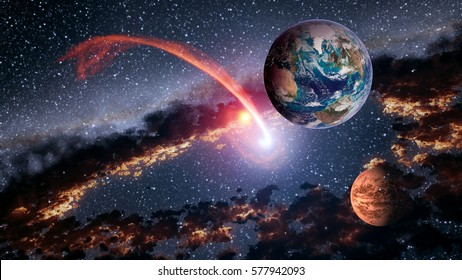 Outer space planet Earth Mars meteorite comet asteroid astrology solar system universe. Elements of this image furnished by NASA.