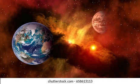 Outer space planet Earth Mars sun astrology milky way solar system galaxy universe. Elements of this image furnished by NASA.