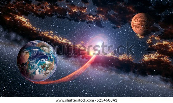 Outer space planet Earth Mars launch astrology solar system galaxy universe. Elements of this image furnished by NASA.