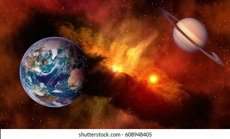 Outer space planet Earth Saturn sun astrology milky way solar system galaxy universe. Elements of this image furnished by NASA.