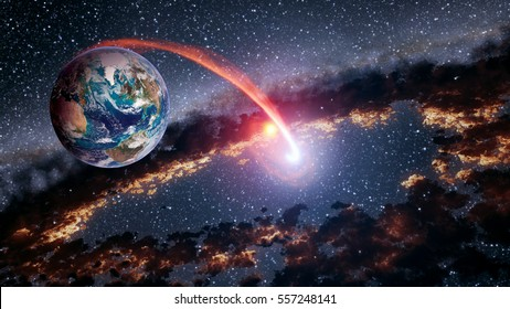 Outer space planet Earth shuttle launch astrology solar system galaxy universe. Elements of this image furnished by NASA.