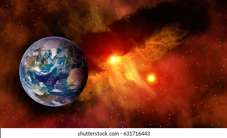 Outer space planet Earth sun astrology milky way solar system galaxy universe. Elements of this image furnished by NASA.