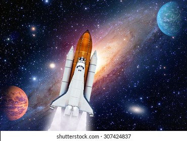 Outer space shuttle rocket launch spaceship universe planet stars. Elements of this image furnished by NASA.