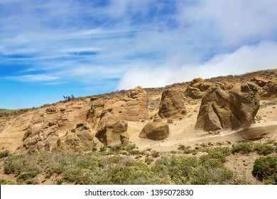 The outer Teno Mountains on teneriffa with its moonscape in sandstone and tuff formations, bizarre and formed by wind and weather rock landscape in ocher tones.