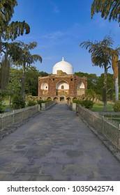 Outer view of Hazira Maqbara, with tombs of Qutb-ud-din Muhammad Khan, tutor of Salim, son and successor of Akbar, Vadodara (Baroda), Gujarat, India