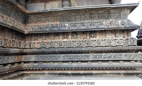 Outer wall bands with friezes of Chennakeshava Temple, Belur, Hassan District of Karnataka state, India. It was commissioned by Hoysala Empire King Vishnuvardhana in 1117 CE.