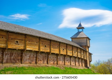 Outer wall of the Baturin Citadel - wooden cossac's fortification. Baturin, Ukraine.