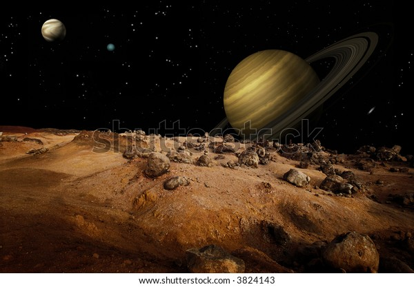 Outerspace shot from one of Saturn's moons showing Saturn in the background