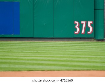 An outfield marker designating a measured distance.