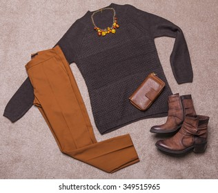 Outfit of casual and modern woman.