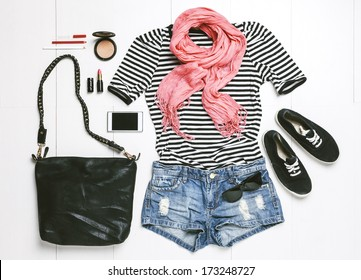 Outfit of casual woman./ Overhead of essentials modern woman.