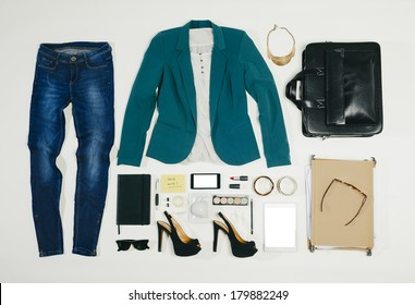 Outfit of clothes and woman accessories./ Overhead of essentials business woman.