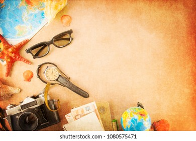 Outfit of traveler with copy space, Summer and Travel concept