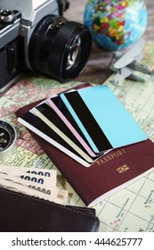 Outfit of traveler on wooden background and copy space, Travel concept