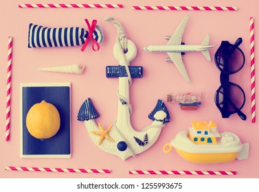 Outfit of traveler on yellow background with copy space, Travel concept