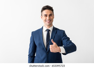 Outgoing man showing symbol cool