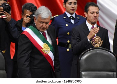Outgoing Mexican President Enrique Pena Nieto a new Mexican President Andres Manuel Lopez Obrador at ceremony of take oath as New President of Mexico on December 1, 2018 In Mexico City
