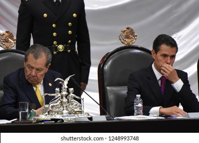 Outgoing president Enrique Pena Nieto during the  take oath of Andres Manuel Lopez Obradoras New  President during the ceremony of 65th  Mexico Presidential Inauguration on December 1, 2018