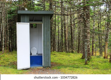 An outhouse with the door open stands at the end of a walking trail & Outhouse Images Stock Photos \u0026 Vectors | Shutterstock
