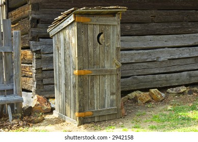 outhouse at log cabin, recreation of birthplace of  US President James K. Polk, near Charlotte, North Carolina