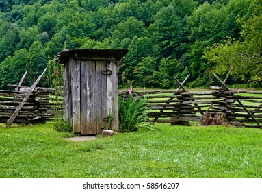 Outhouse on the farm with a beautiful background.