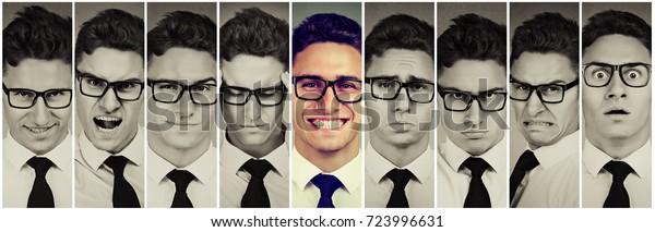 Un tipo sobresaliente. Feliz hombre sonriente entre frustrado, triste, desesperado, estresado. Concepto de pensamiento positivo