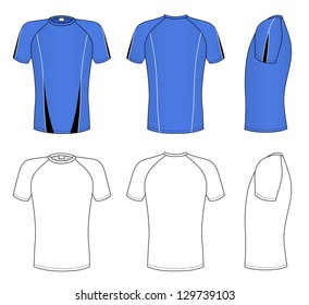 Outline blue t-shirt illustration isolated on white