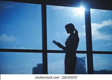 Outline of businesswoman with touchpad networking by the window in office