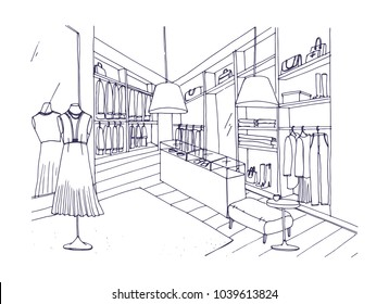 Outline drawing of fashionable clothing shop interior with furnishings, showcases, mannequins dressed in stylish apparel. Boutique or fashion store hand drawn with contour lines. illustration