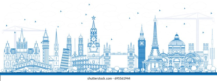 Outline Famous Landmarks in Europe. Business Travel and Tourism Concept. Image for Presentation, Banner, Placard and Web Site