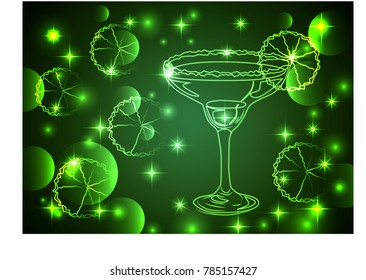 outline of glasses with a cocktail on a green background, disco, club, neon glow, couple