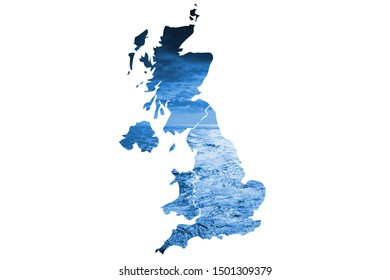 The outline of Great Britain filled with blue water and clouds