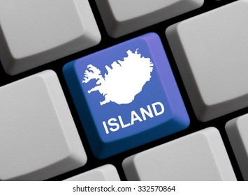 Outline of Iceland on a blue computer Keyboard with word in in german language