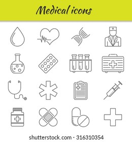 Outline icons set. Medical icons.