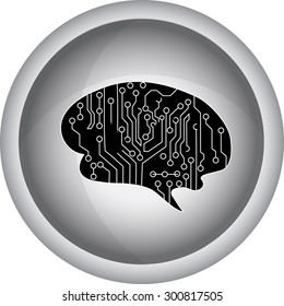 outline illustration of human brain on white background