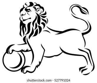 Outline image of a lion standing with ball. Raster clip art.