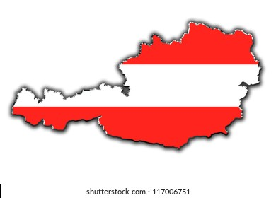 Outline map of Austria covered in Austrian flag