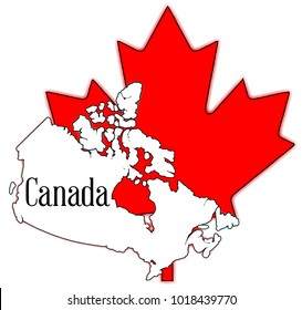 Outline map of Canada over a white background with a large red maple leaf