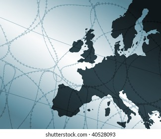 Outline map of Europe overlaid with barbwire