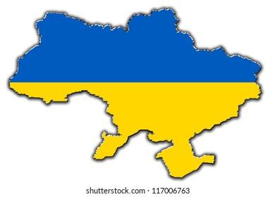 Outline map of Ukraine covered in Ukrainian flag
