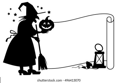 Outline paper scroll and silhouette of a witch with halloween pumpkin. Raster clip art.